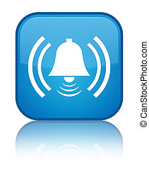 Alarm icon special cyan blue square button