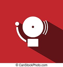 Alarm icon with shade on a red background