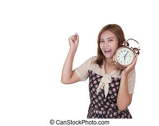 alarm, kobieta handlowa, zegar