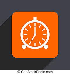 Alarm orange flat design web icon isolated on gray ...