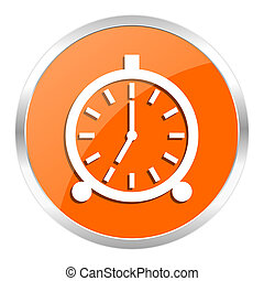 alarm orange glossy icon