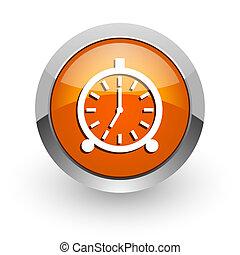 alarm orange glossy web icon