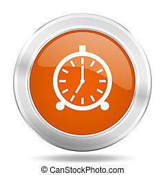 alarm orange icon, metallic design internet button, web and mobile app illustration