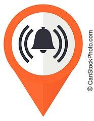 Alarm orange pointer vector icon in eps 10 isolated on white background.