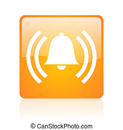 alarm orange square glossy web icon
