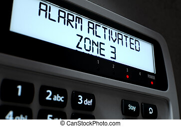 Alarm Panel Activated - A 3D render of a home security...