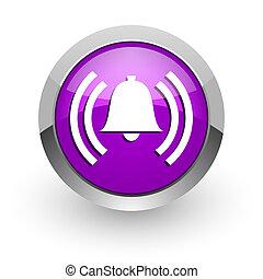alarm pink glossy web icon