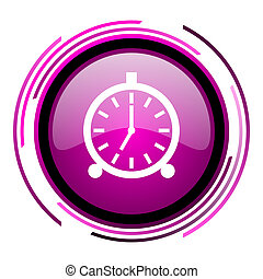 Alarm pink glossy web icon isolated on white background