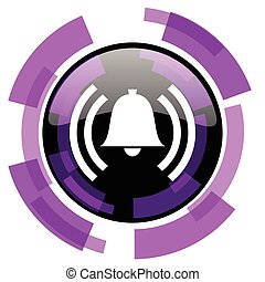 Alarm pink violet modern design vector web and smartphone icon. Round button in eps 10 isolated on white background.