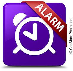 Alarm purple square button red ribbon in corner