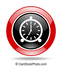 alarm red and black web glossy round icon