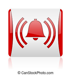 alarm red and white square web glossy icon