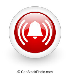 alarm red circle glossy web icon on white background