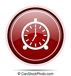 Alarm red glossy round web icon. Circle isolated internet ...