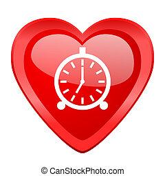 alarm red heart valentine glossy web icon