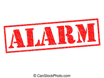 ALARM red Rubber Stamp over a white background.