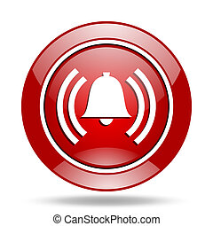alarm red web glossy round icon