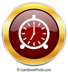 Alarm red web icon with golden border isolated on white ...