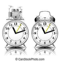 alarm, sätta, style., retro, klocka