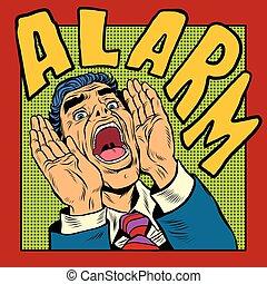 Alarm screams pop art man