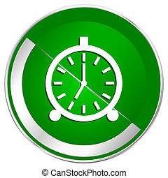 Alarm silver metallic border green web icon for mobile apps ...