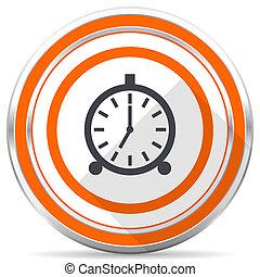 Alarm silver metallic chrome round web icon on white background with shadow