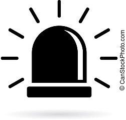 Alarm siren icon isolated on white background