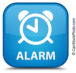 Alarm special cyan blue square button