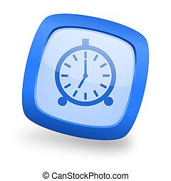 alarm square glossy blue web design icon