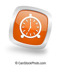 alarm square orange glossy chrome silver metallic web icon