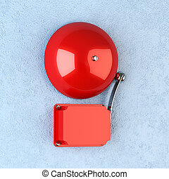 Alarm - 3d render of red retro alarm on blue wall