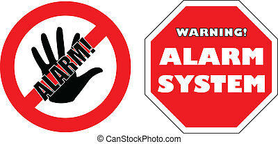 """""""protected by alarm system"""" signs - vector"""
