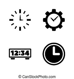 Alarm Time, Clock, Watch. Simple Related Vector Icons