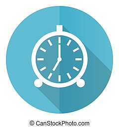 Alarm vector icon, flat design blue round web button isolated on white background