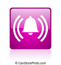 alarm violet square web glossy icon