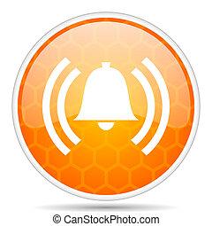 Alarm web icon. Round orange glossy internet button for webdesign.