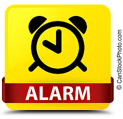 Alarm yellow square button red ribbon in middle