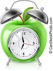 alarm, zielone jabłko, zegar