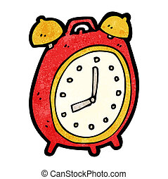 alarma, caricatura, reloj