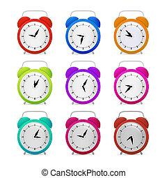 alarma, conjunto, colorido, reloj