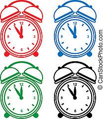 alarma, conjunto, reloj