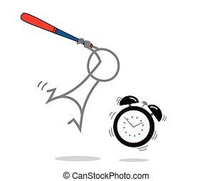 alarma, contra, hombre, reloj