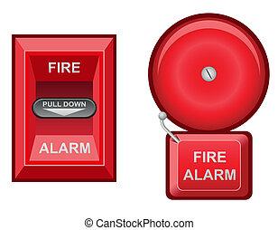 alarma de incendios, vector, ilustración