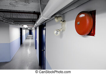 alarma, fuego, campana, (red)