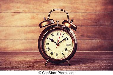 alarma, mesa., retro, reloj