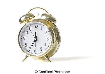 alarma, oro, reloj