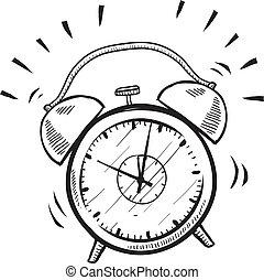 alarma, retro, bosquejo, reloj