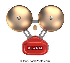alarma, ringer., aislado, campana