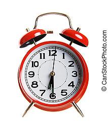 alarma, rojo, reloj