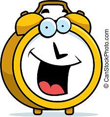 alarma, sonriente, reloj